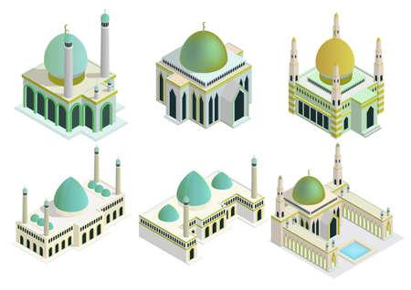 Vector isometric mosque set. Isolation on white