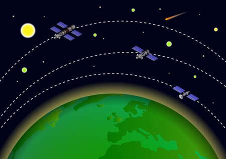 Illustration of Artificial satellite orbit around earth. Vector Illustration