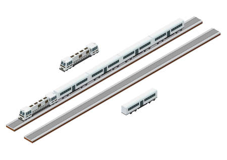 Vector Isometric train tracks and passenger train. Isolated on white