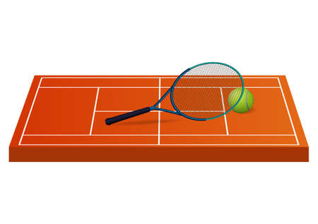 Tennis field with ball and racket. Vector illustration