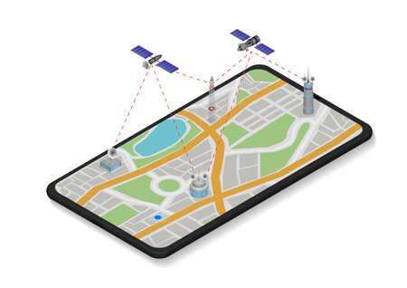 Vector isometric illustrations of communication satellite working on phone