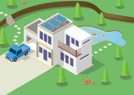 Modern Luxury Isometric Green Eco Friendly House With Solar Panel. Suitable for real estate brochures and other graphic related assets.