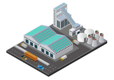 Vector illustration isometric Industrial buildings composition with view of the facilities like chimney Vettoriali