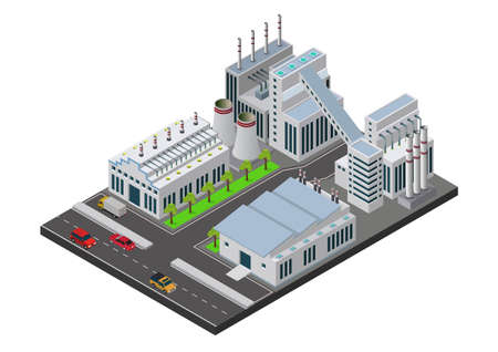 Vector illustration isometric Industrial buildings composition with view of the facilities like chimney Vetores