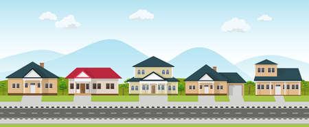 Row of house neighborhood. Residential buildings on suburban street. Ilustracja