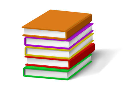 Realistic books stack isolated. Vector illustrations.