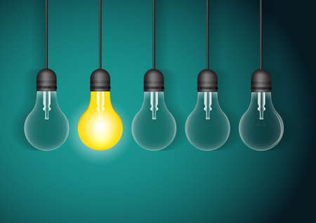 Set of hanging light bulbs with one glowing. Vector light bulb icons with concept of idea.