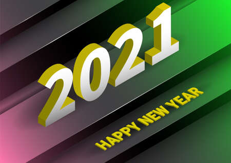 2021 happy new year background with realistic isometric style. 向量圖像