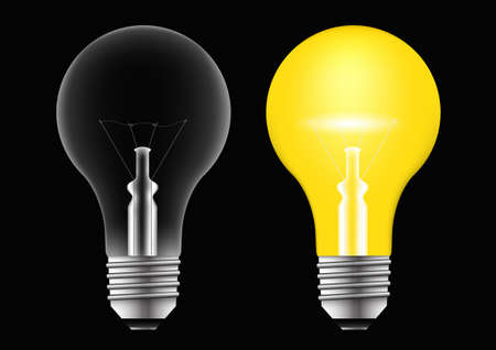 Transparent realistic light bulb isolated on black background