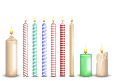 Set collection of realistic colorful candles Векторная Иллюстрация