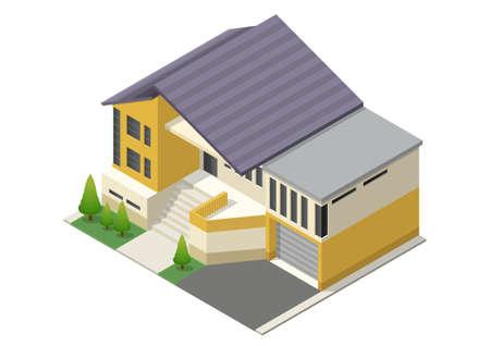 isometric modern minimalist house Isolated on white Illustration
