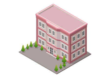 Isometric office or hotel building with trees isolated on white Illustration
