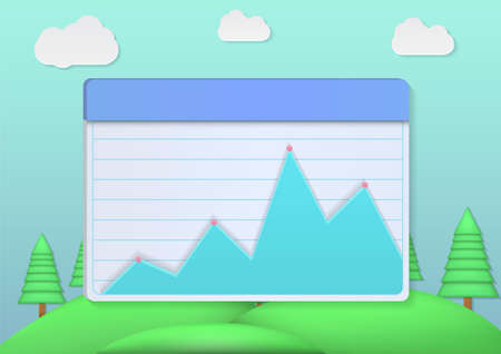 Infographic screen with cloud and sky background