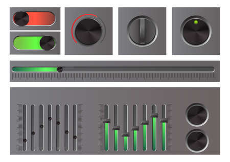 Set of detailed web button, knob, ui sliders, and equalizer