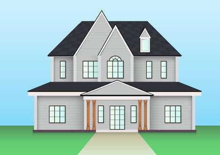 American farm house icon. Vector illustration