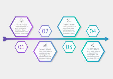 Hexagon infographics template with step design vector