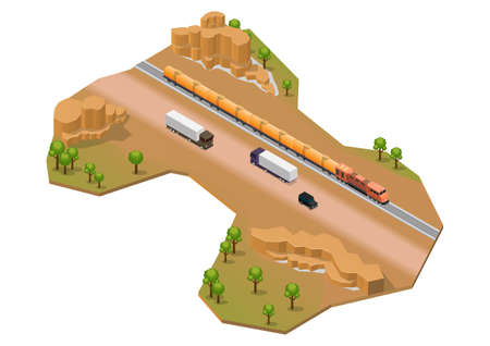 Isometric desert area with train track and highway. Isolated on white