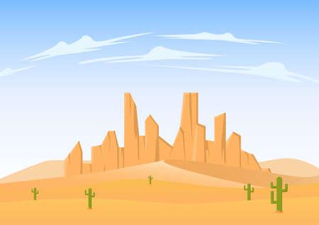 Desert landscape with sandstone mountain