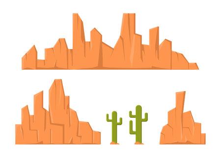 Sandstone mountain and cactus element for desert illustration