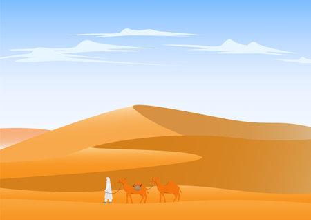 Camel crossing desert landscape background