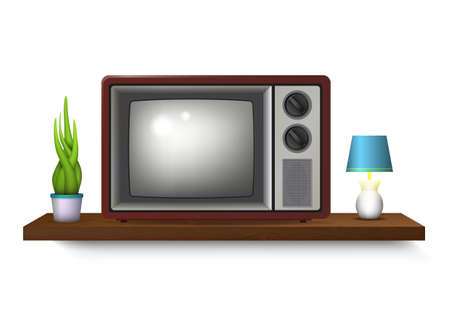 Realistic retro television illustration with vase and table lamp