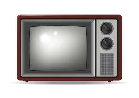 Realistic retro television illustration isolated on white