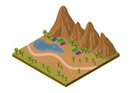 Isometric outdoor park with mountain, lake, trees and camping area. Isolated on white Illustration