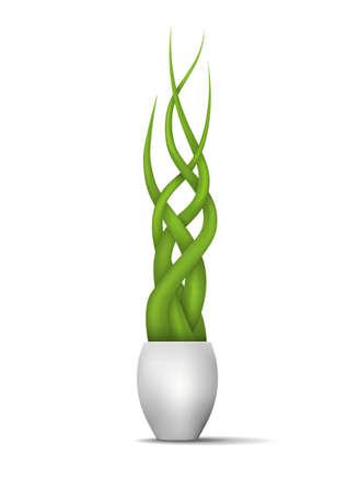 green plants in a vase. vector illustration