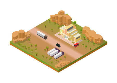Isometric desert area with truck and store building Illustration
