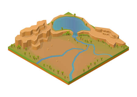 Isometric rock mount with lake and river.