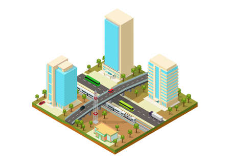 Isometric city with skyscraper, highway, and train
