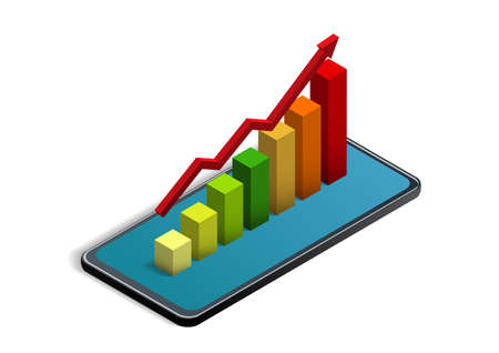 Isometric statistical chart on smartphone. Vector illustration