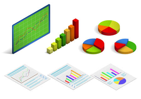 Isometric statistical chart or curve. Vector illustration