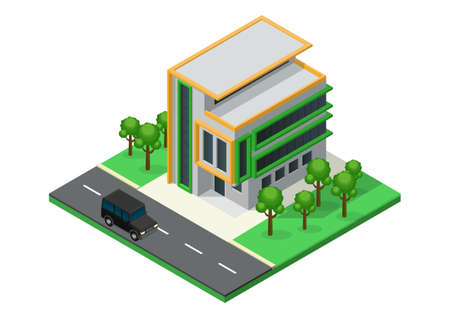 Isometric Beautiful house with minimalist architecture