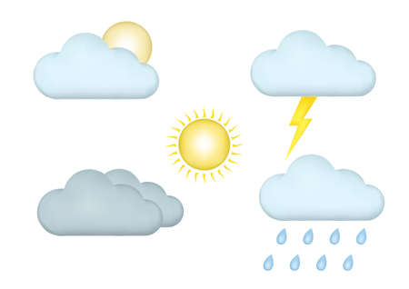 weather icon set with 3d style