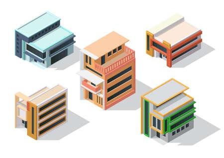 Isometric minimalist architecture house set Illustration