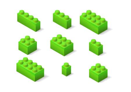 green children toys constructor isometric brick set Illustration