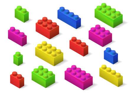 multicolored children toys constructor isometric brick