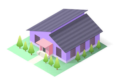 isometric modern house with trees