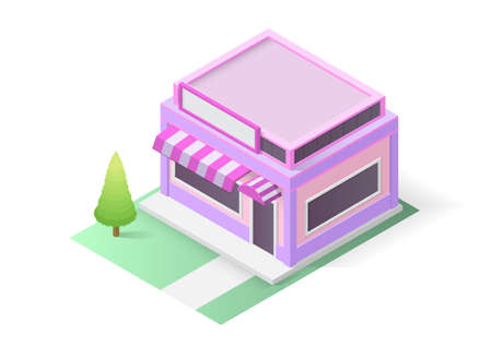 isometric shop or coffee building. Vector illustration