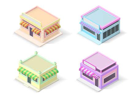 isometric cake or bakery shop building set