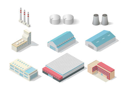 isometric industrial building set isolated on white