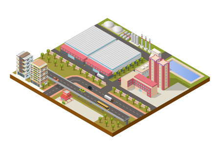 isometric industrial area with buildings and highway