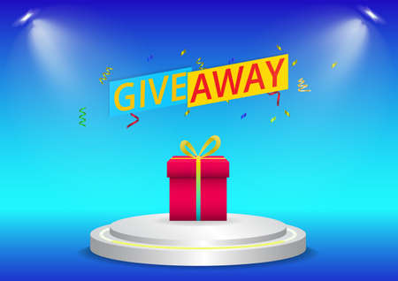 give away background with gift on podium Illustration