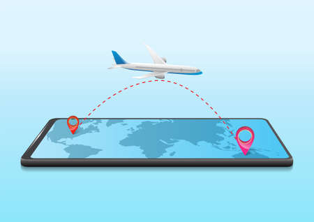 business travel concept with airplane trip on mobile Illustration