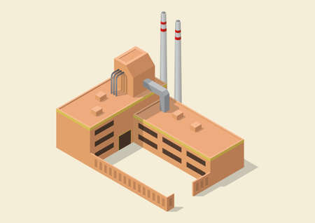 Isometric simple industrial building icon Illustration