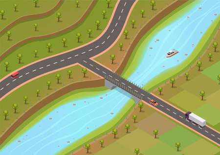 isometric environment with rivers and roads with trees and vehicles