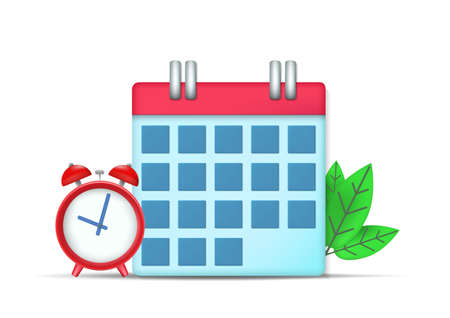 calendar and clock icon with leaves. isolated on white background Illustration