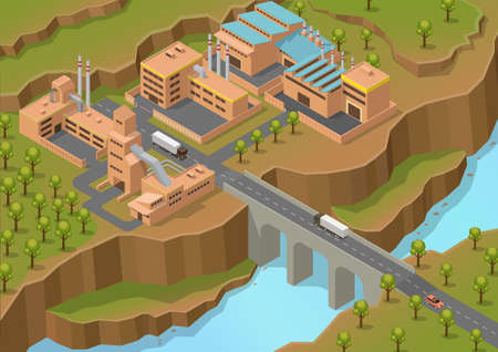 isometric industrial area with big river and truck on the bridge