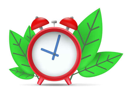 clock icon with leaves isolated on white